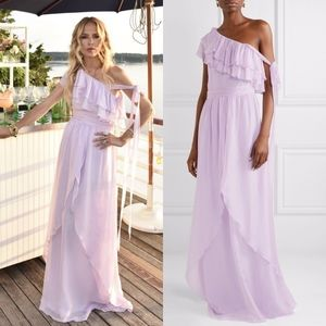 Rachel Zoe Susanna One Shoulder Ruffled Maxi Gown
